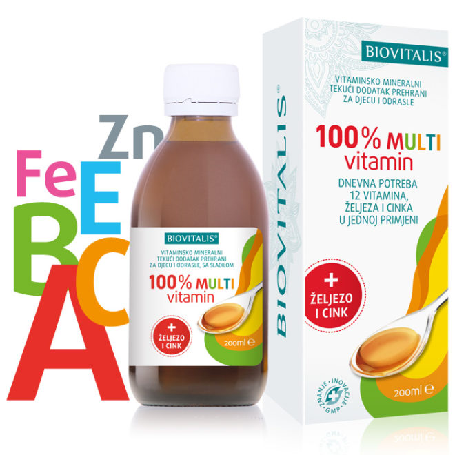 Biovitalis 100% MULTIVITAMIN tekući dodatak prehrani za djecu i odrasle sa sladilom 200 ml